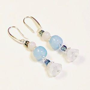 Baby Blue Agate & Crystal Bellflower Earrings